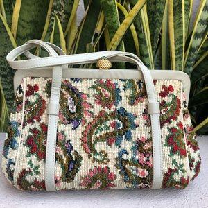Vtg Floral Paisley Embroidery Purse Carpet Bag 60s